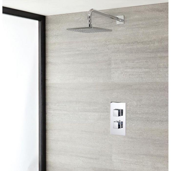2-Wege Duschsystem inkl. Kopfbrause & UP Thermostat Duscharmatur - Kubix