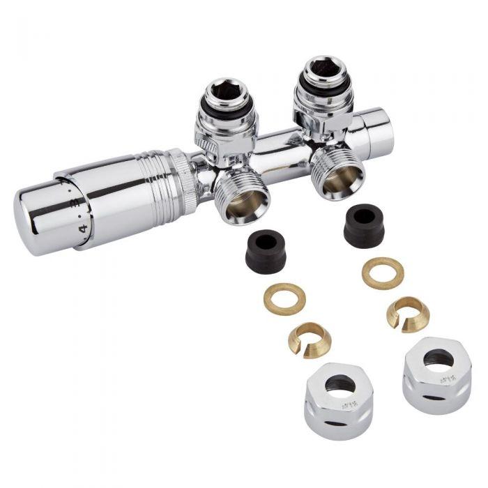Hahnblock Heizkörperwinkelventil Manuell & thermostatisch Chrom/Weiß inkl. Multiadapter für 12mm Kupferrohre im Set
