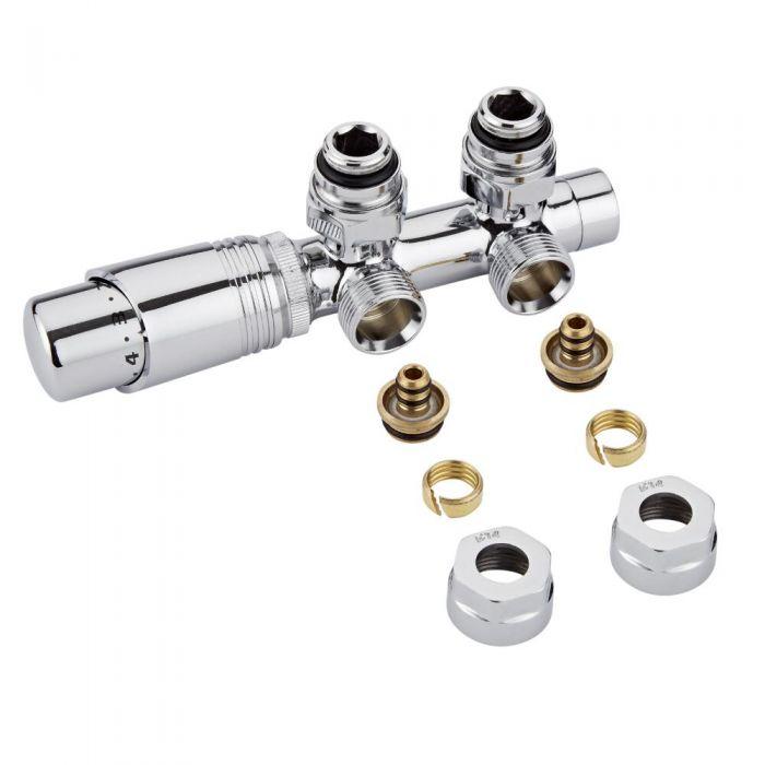 Hahnblock Heizkörperwinkelventil Manuell & thermostatisch Chrom/Weiß inkl. Multiadapter für 14mm Multiverbundrohre im Set