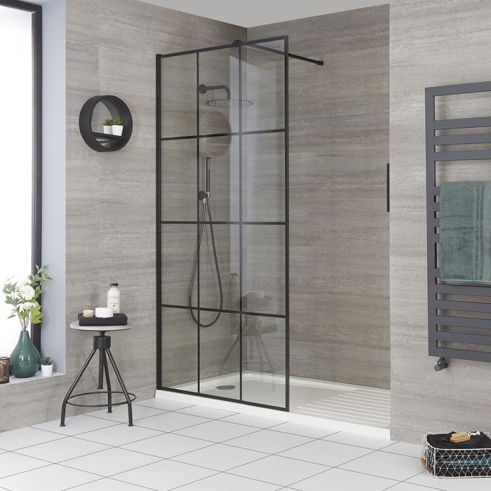 Walk-In Dusche mit Wanne, für die Niesche, Gittermuster, Größe wählbar - Barq
