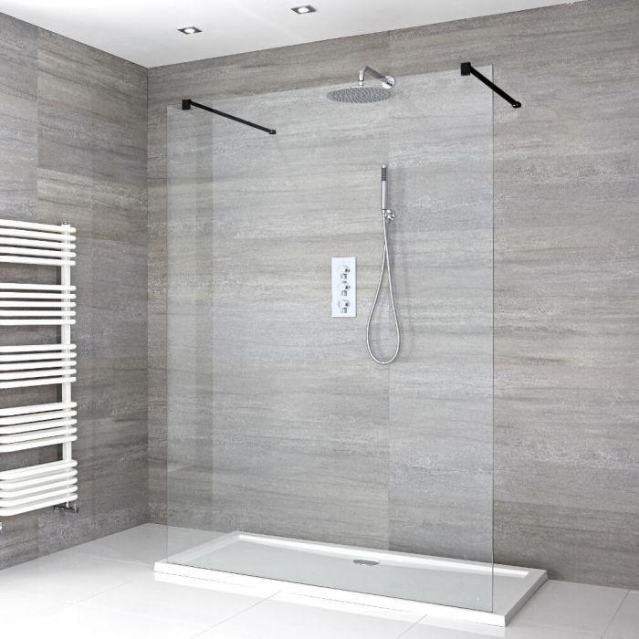 Nox Walk-In Duschabtrennung mit Duschtasse - Wählbare Größe
