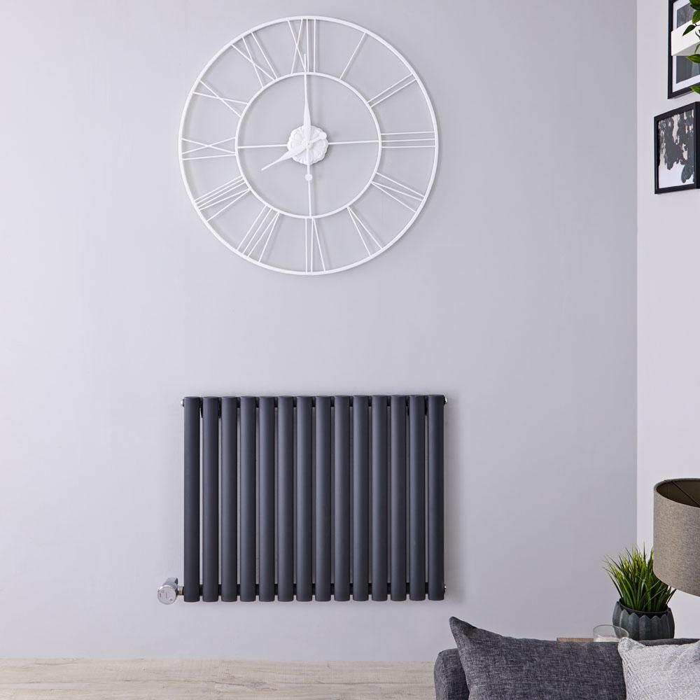 Design Heizkörper Elektrisch Horizontal Einlagig Anthrazit 635mm x 834mm inkl. ein 1000W Heizelement - Revive