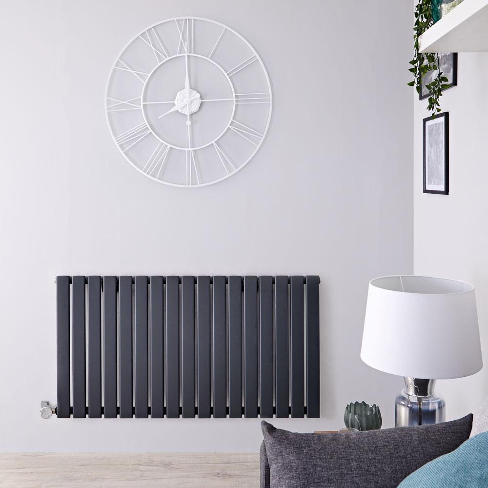 Design Heizkörper Elektrisch Horizontal Einlagig Anthrazit 635mm x 1190mm inkl. ein 1000W Heizelement - Delta