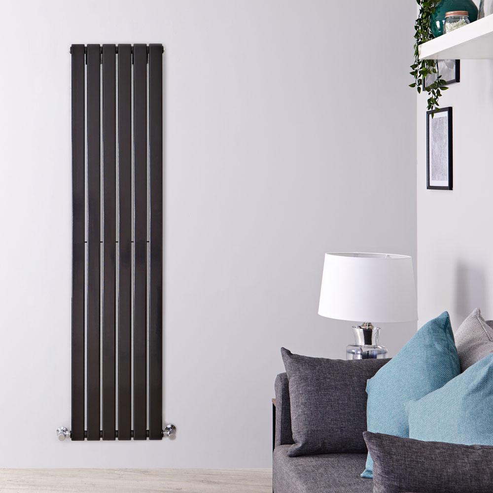 Design Heizkörper Vertikal Einlagig Schwarz 1600mm x 420mm 879W - Delta