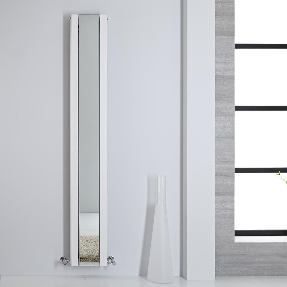 Design Heizkörper mit Spiegel Doppellagig Vertikal Weiß 1800mm x 265mm 901W - Sloane