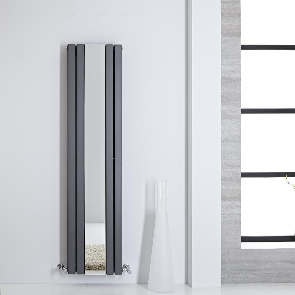 Design Heizkörper mit Spiegel Doppellagig Vertikal Anthrazit 1600mm x 385mm 1212W - Sloane