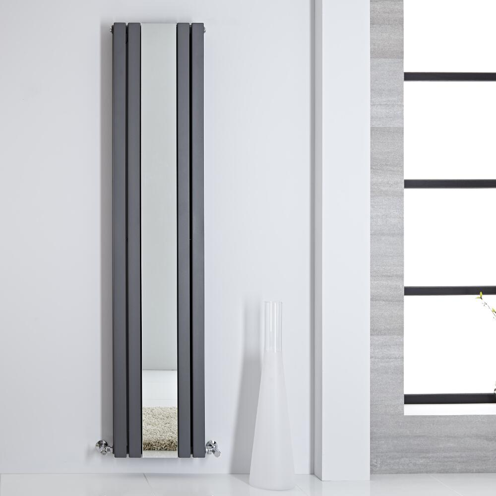 Design Heizkörper mit Spiegel Doppellagig Vertikal Anthrazit 1800mm x 385mm 1344W - Sloane