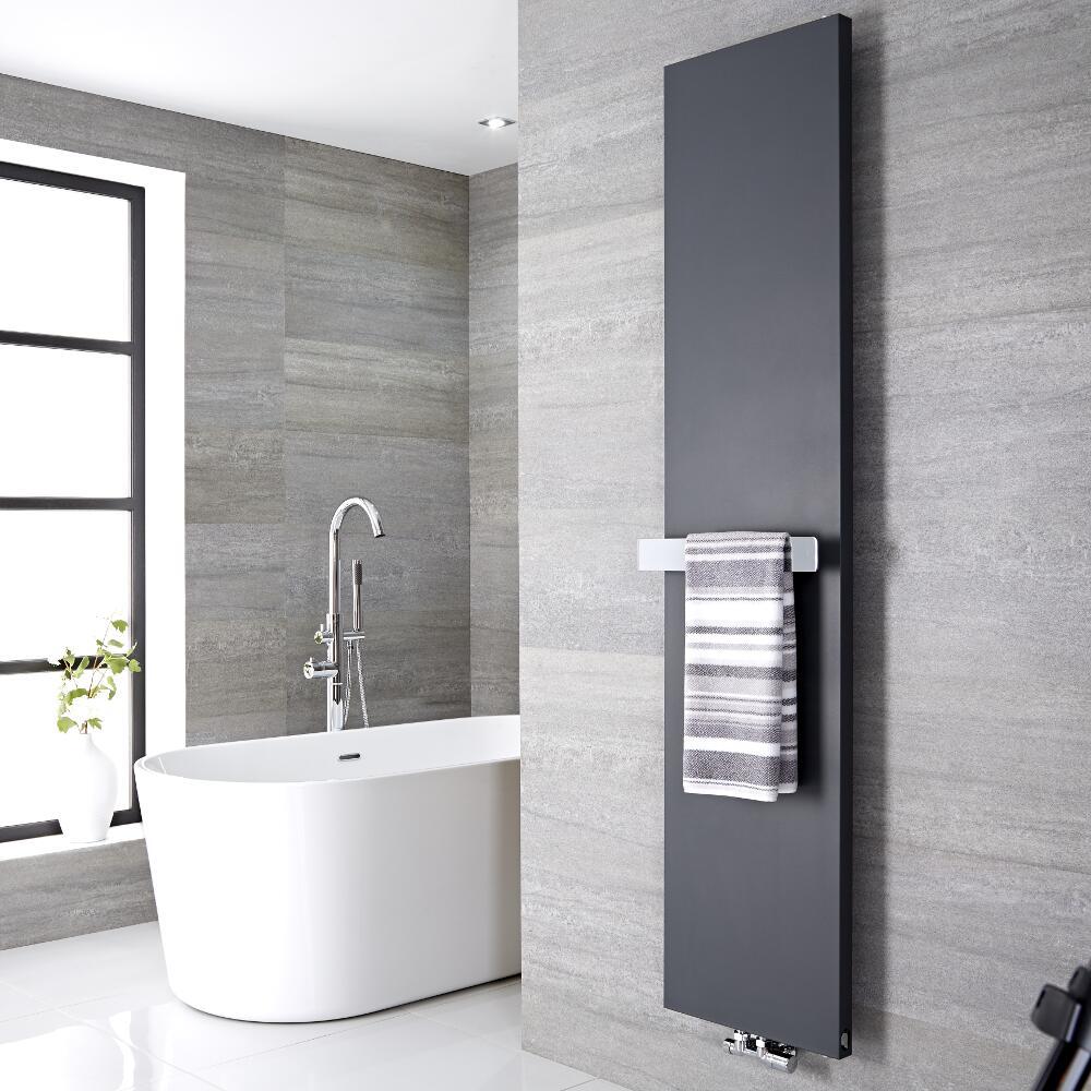 Design Flachheizkörper Vertikal Anthrazit 1800mm x 500mm 1123W mit 420mm Handtuchstange - Rubi