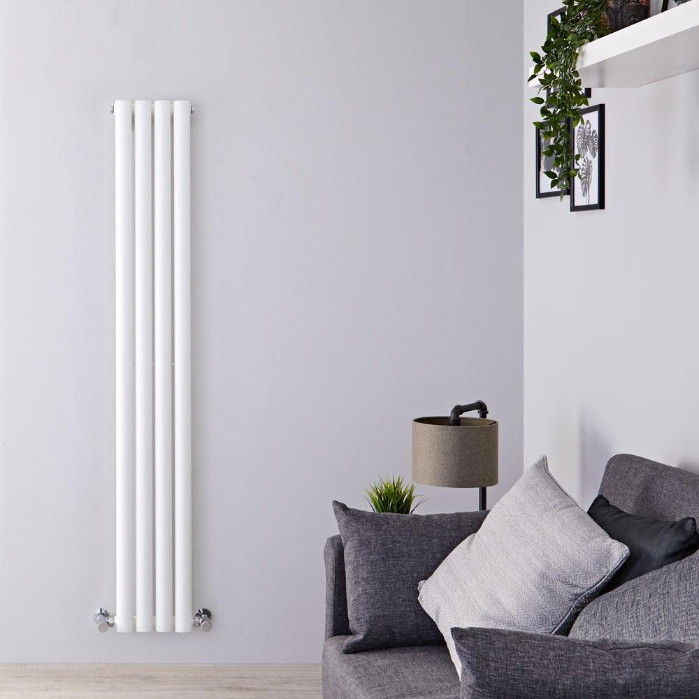 Design Heizkörper Vertikal Einlagig Weiß 1600mm x 236mm 561W - Revive Slim