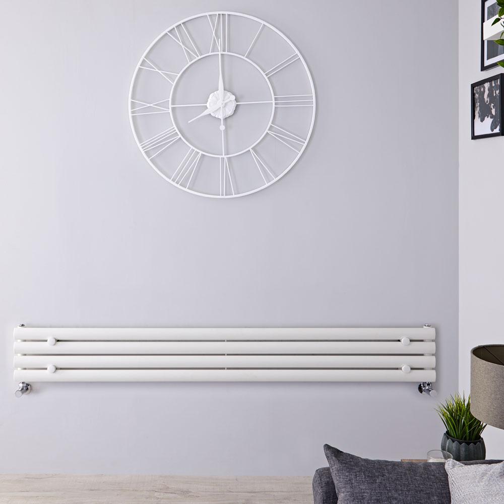 Design Heizkörper Horizontal Einlagig Weiß 236mm x 1600mm 518W - Revive