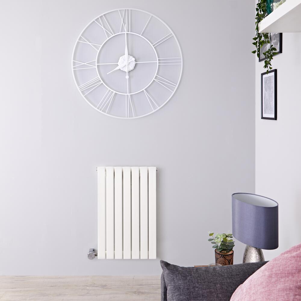 Design Heizkörper Elektrisch Horizontal Einlagig Weiß 635mm x 420mm inkl. ein 400W Heizelement - Sloane