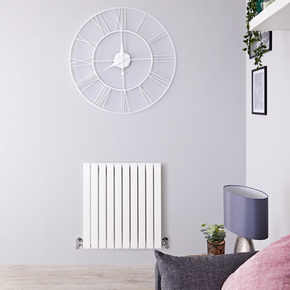Design Heizkörper Horizontal Einlagig Weiß 635mm x 600mm 601W - Sloane