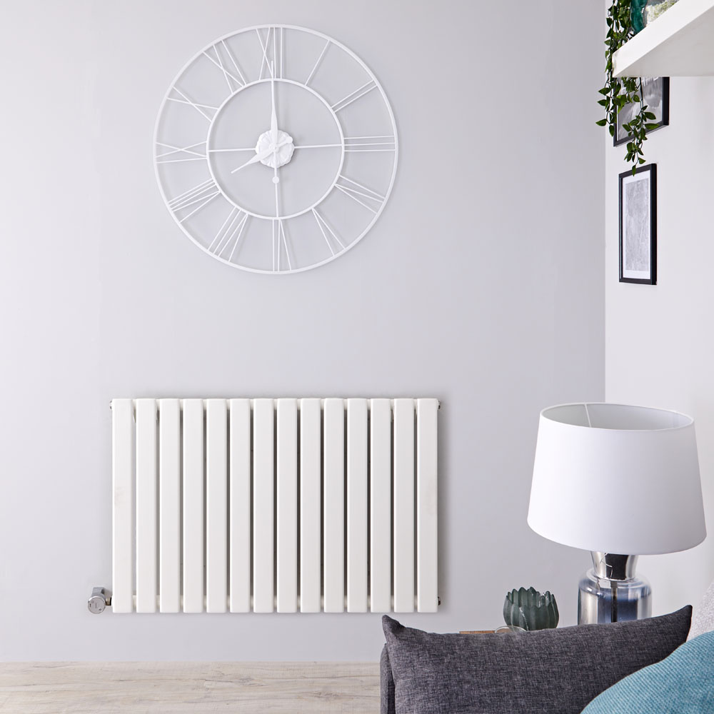 Design Heizkörper Elektrisch Horizontal Einlagig Weiß 635mm x 980mm inkl. ein 800W Heizelement - Delta