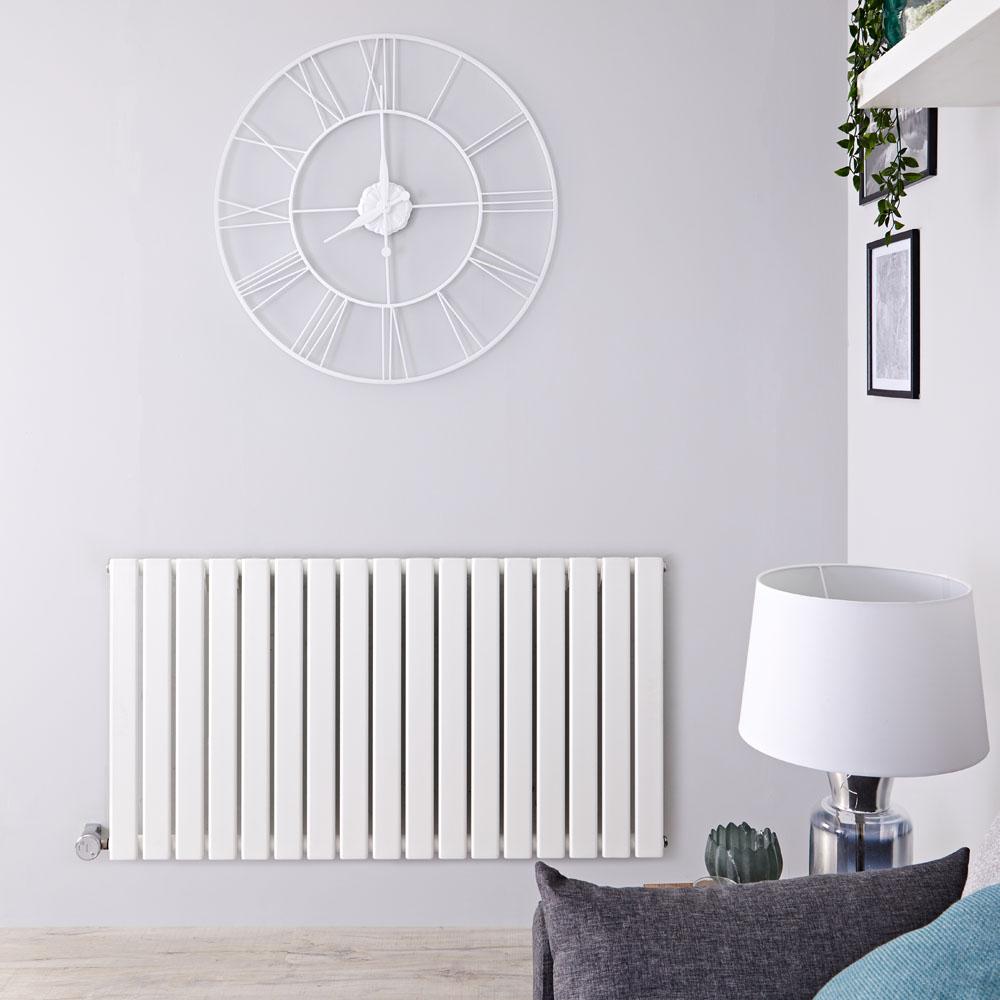 Design Heizkörper Elektrisch Horizontal Einlagig Weiß 635mm x 1190mm inkl. ein 1000W Heizelement - Delta