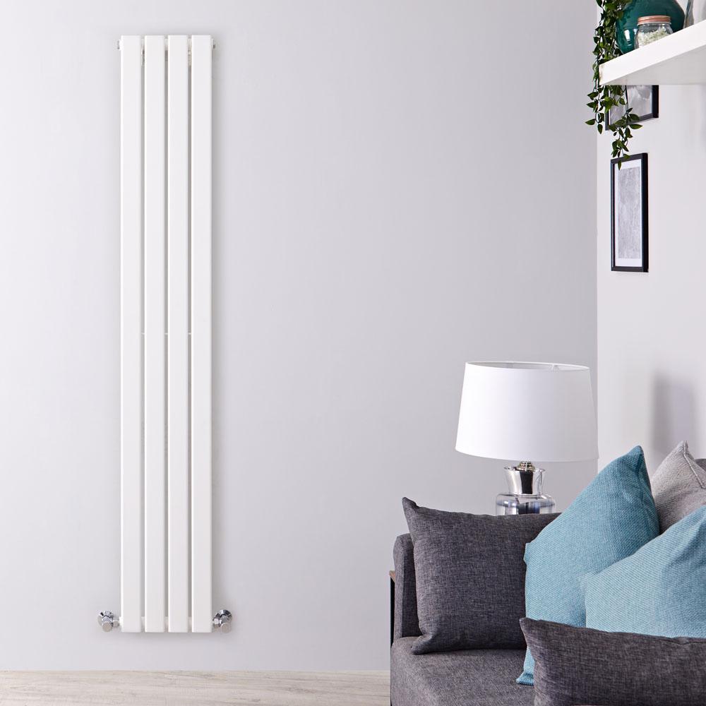 Design Heizkörper Vertikal Einlagig Weiß 1600mm x 280mm 586W - Delta