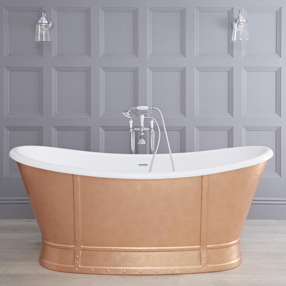 Hudson Reed Egermont doppelseitige Slipper Badewanne 1680mm x 780mm - Bronze