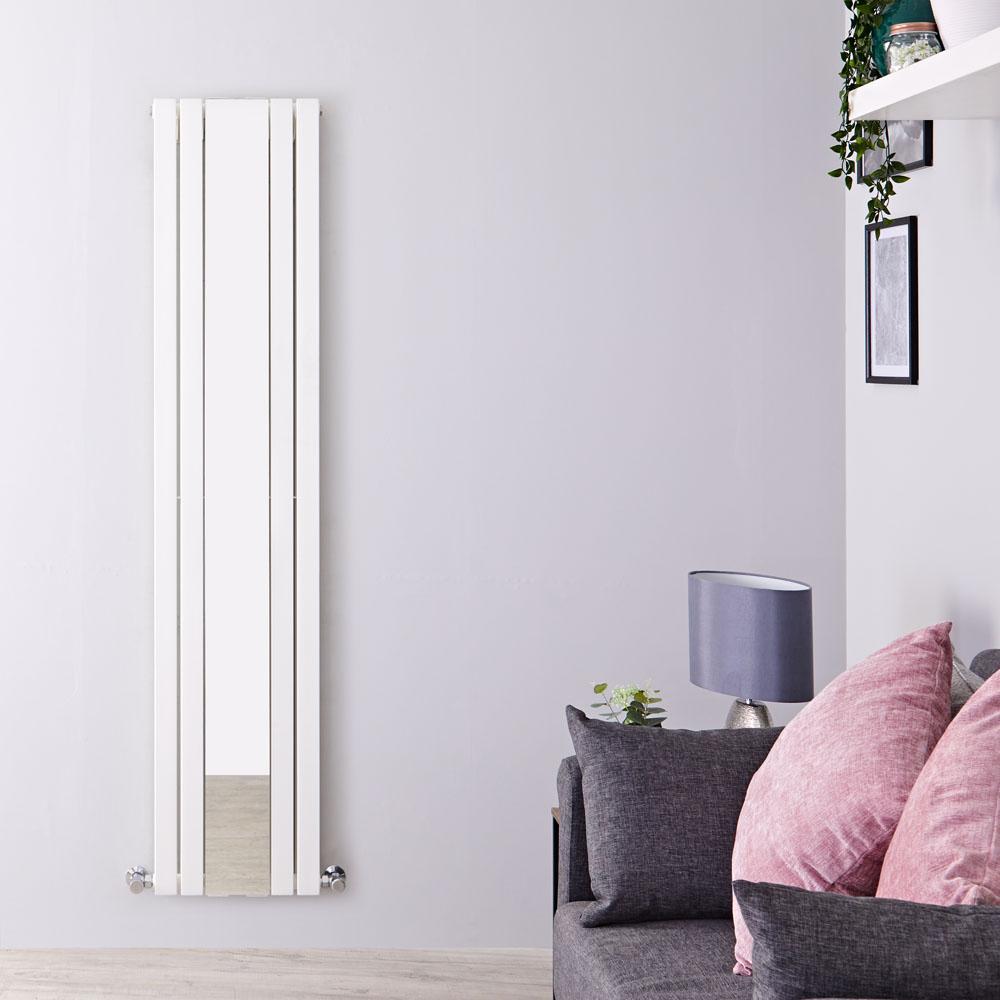Design Heizkörper Vertikal Doppellagig Weiß, mit Spiegel, 1800mm x 381mm 1696W - Sloane