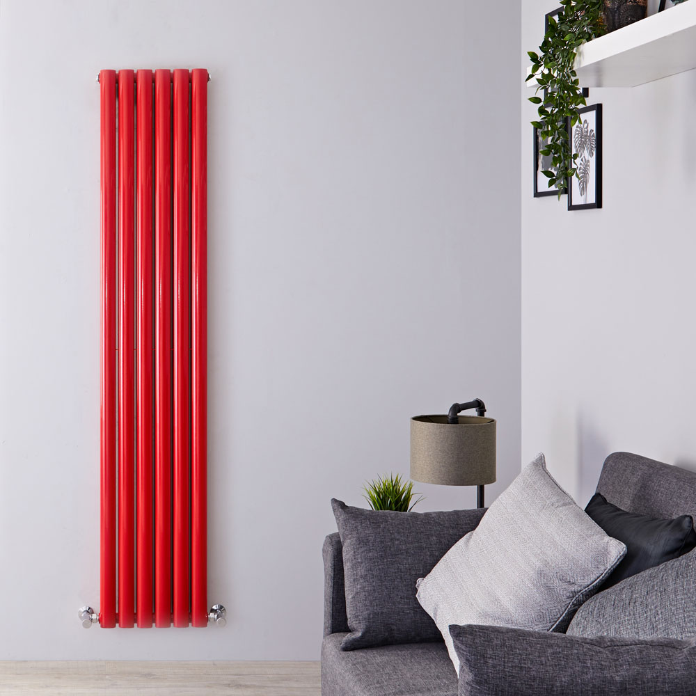 Design Heizkörper Vertikal Doppellagig Rot 1800mm x 355mm 1632W - Revive