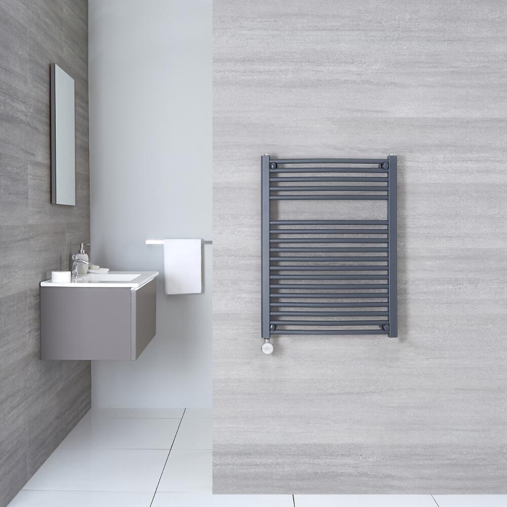 Elektrischer Handtuchheizkörper Gebogen Anthrazit 800mm x 600mm inkl. ein 600W Heizelement - Loa