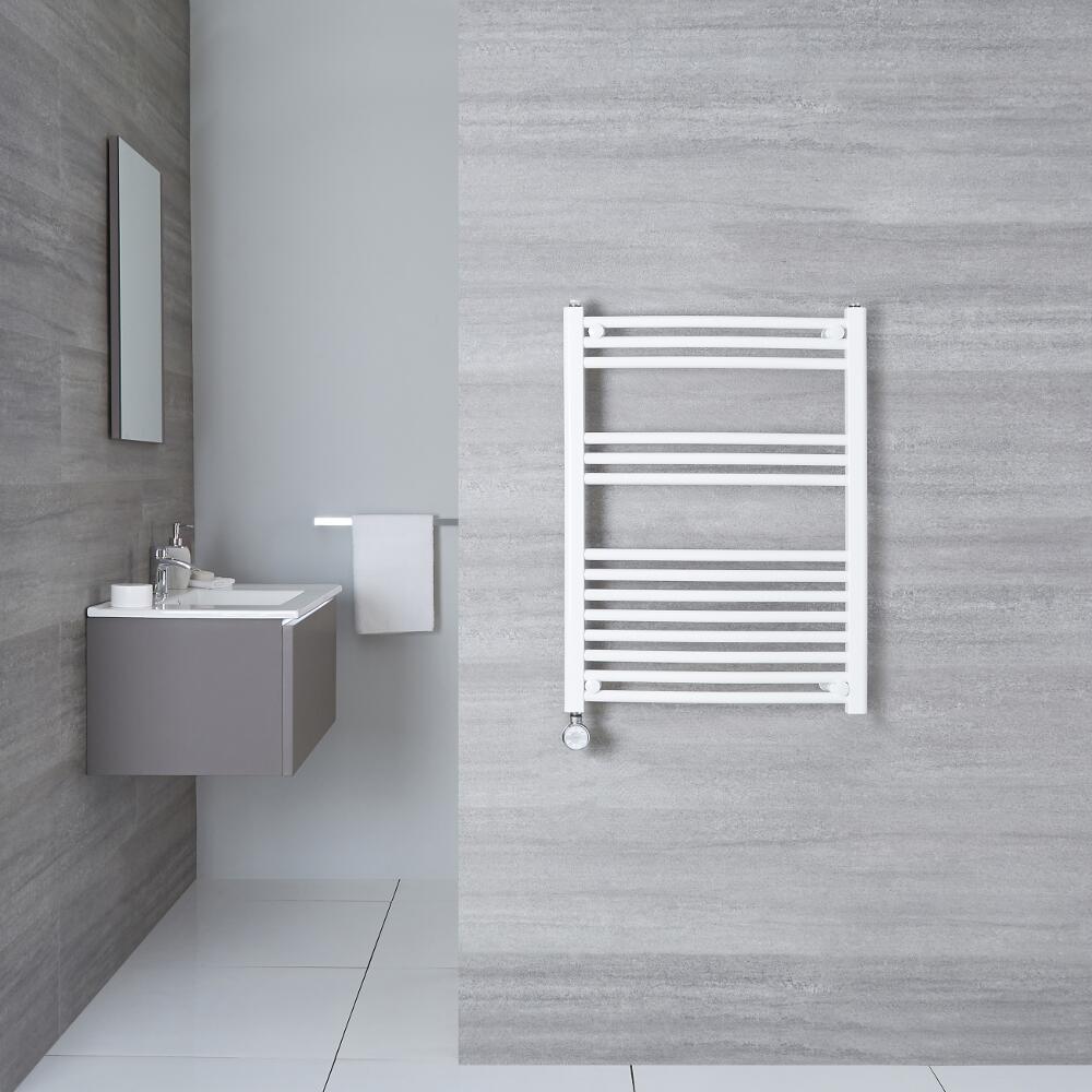 Elektrischer Handtuchheizkörper Gebogen Weiß 800mm x 500mm inkl. ein 400W Heizelement - Etna