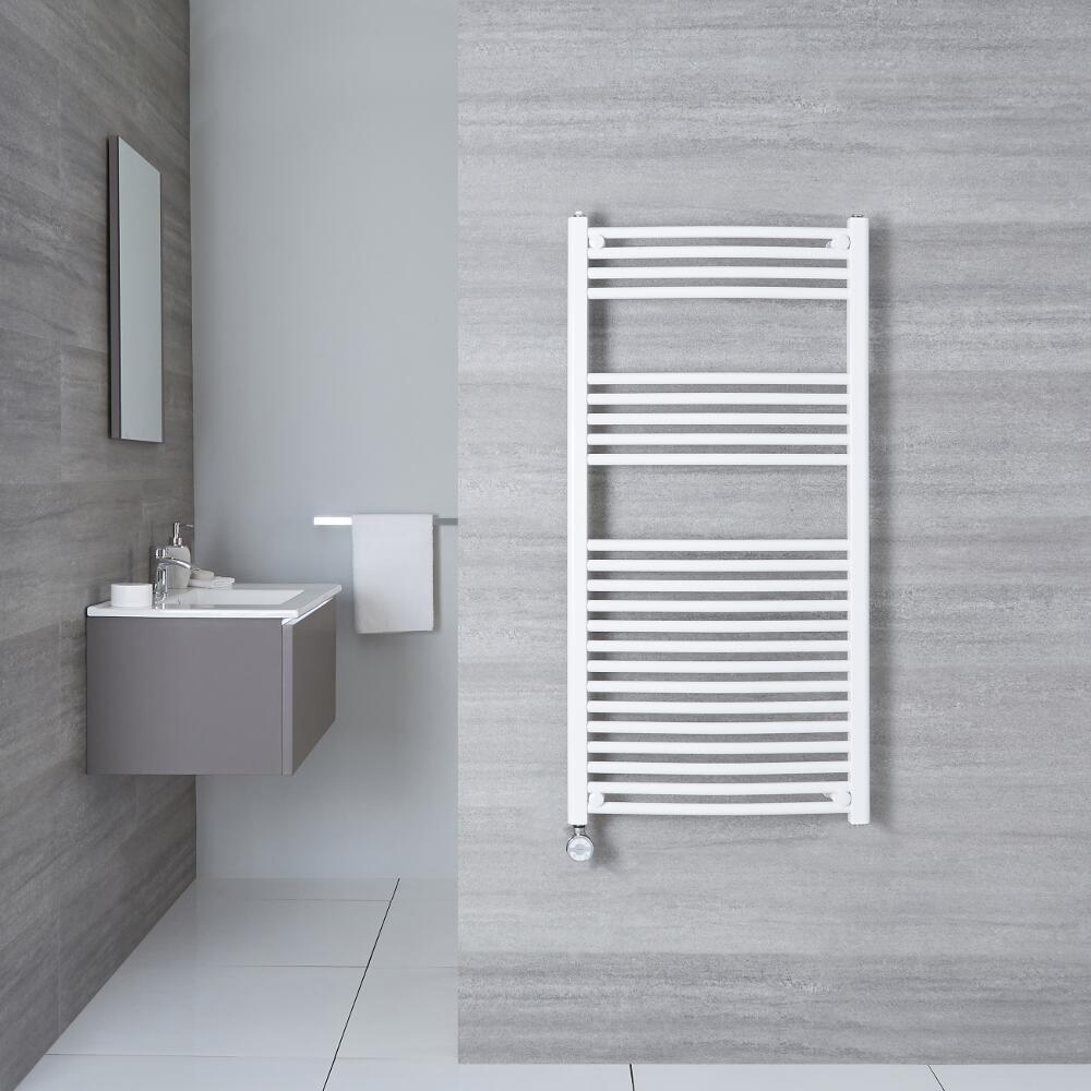 Elektrischer Handtuchheizkörper Gebogen Weiß 1200mm x 500mm inkl. ein 800W Heizelement - Etna