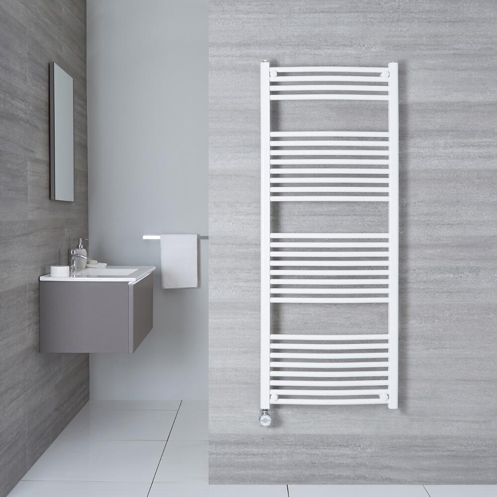 Elektrischer Handtuchheizkörper Gebogen Weiß 1500mm x 500mm inkl. ein 1000W Heizelement - Etna