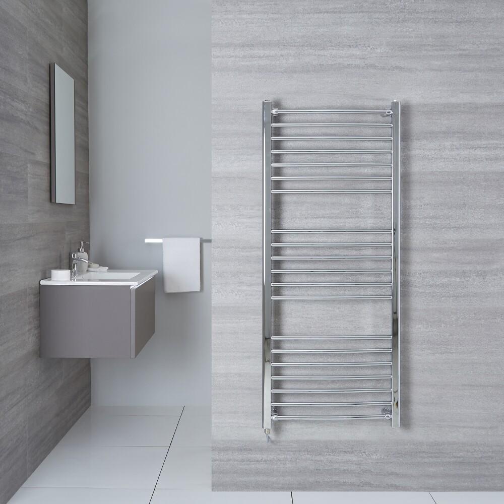 Elektrischer Badheizkörper Gebogen Chrom 1400mm x 500mm - Eco inkl. 400W Heizstab