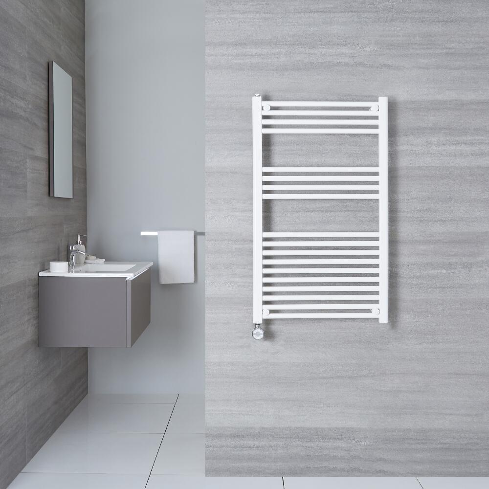 Elektrischer Handtuchheizkörper Weiß 1000mm x 600mm inkl. ein 800W Heizelement - Etna