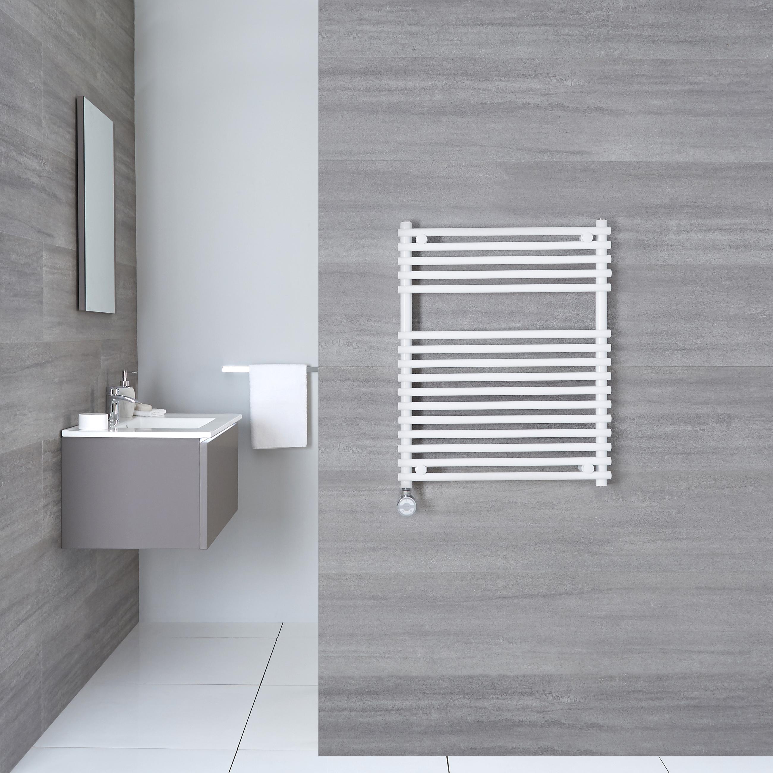 Elektrischer Handtuchheizkörper Weiß 750mm x 600mm inkl. ein 400W Heizelement - Etna