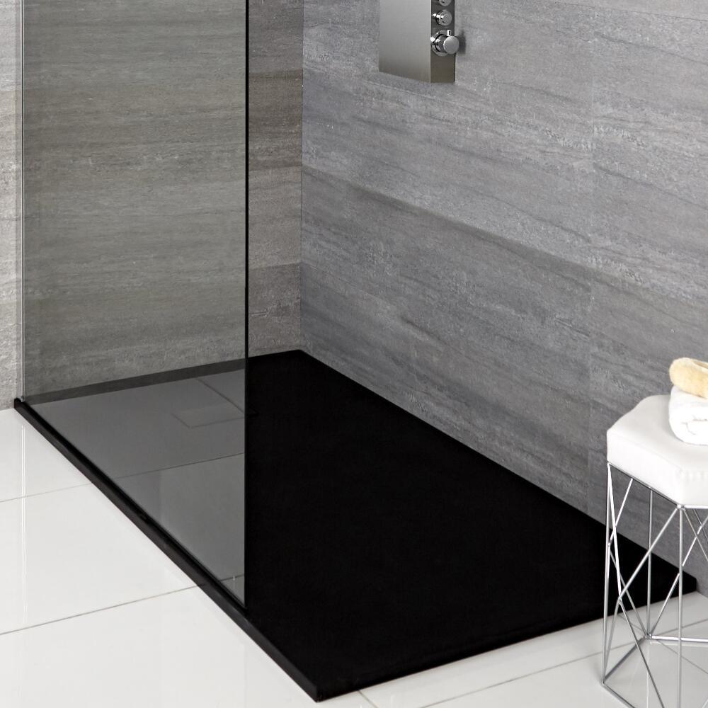 Rockwell -  Graphit Stein-Optik rechteckige Duschwanne 1500x900mm