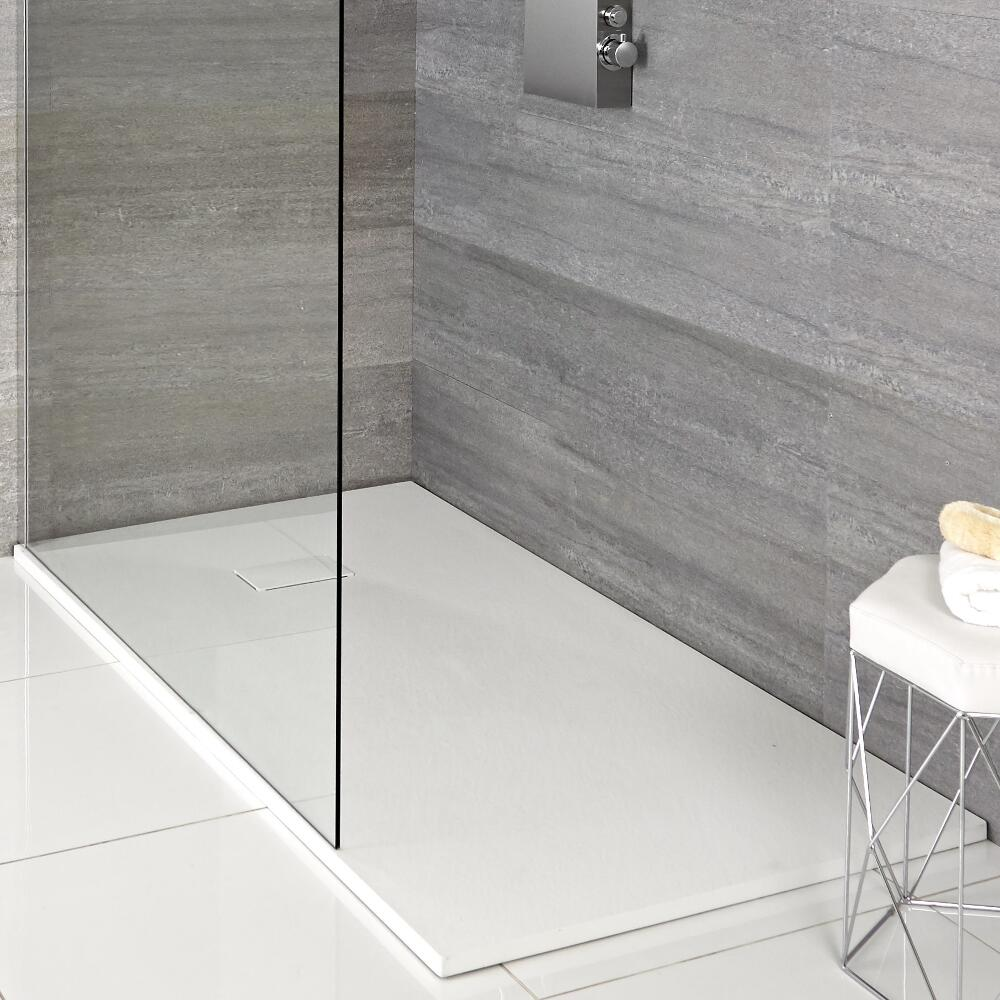 Hudson Reed matt-weiß Stein-Optik rechteckige Duschwanne 1100x700mm