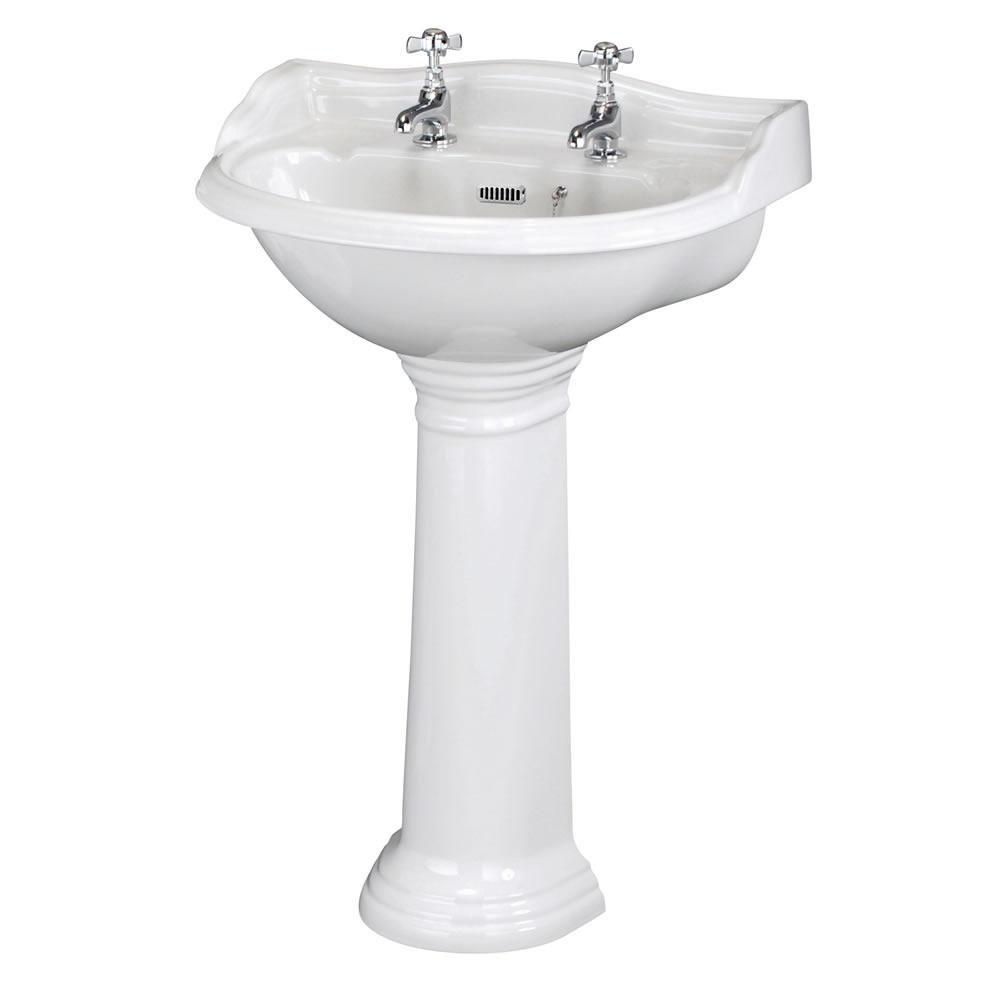 Standwaschbecken mit Spritzschutz - Ryther - 2-Loch