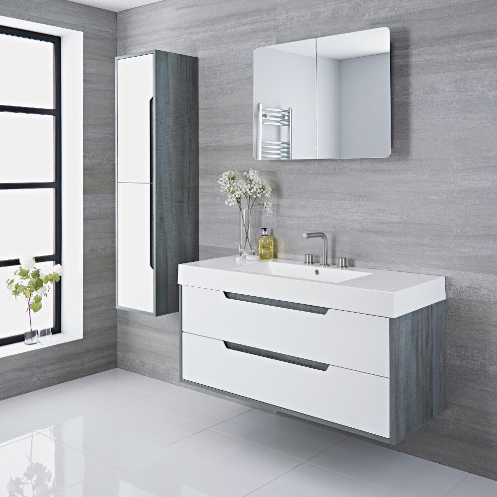 waschtisch mit unterschrank grau 1200mm optional mit f en newport. Black Bedroom Furniture Sets. Home Design Ideas