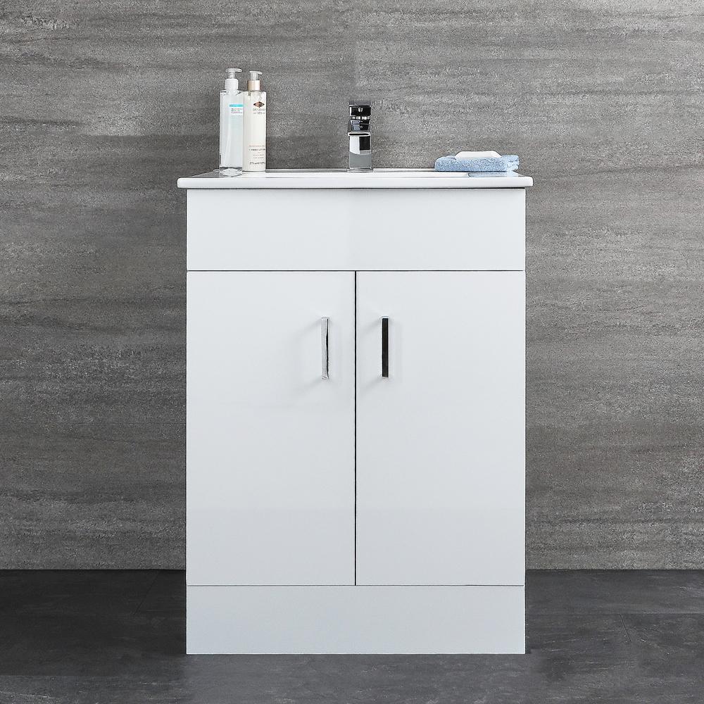 Geo Stand-Waschtisch mit Unterschrank Weiß B 610mm, mit 2 Türen