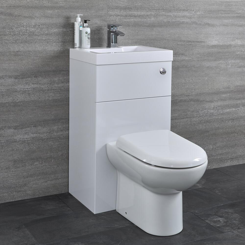 D-förmige Toilette mit Spülkasten und integriertem Waschbecken