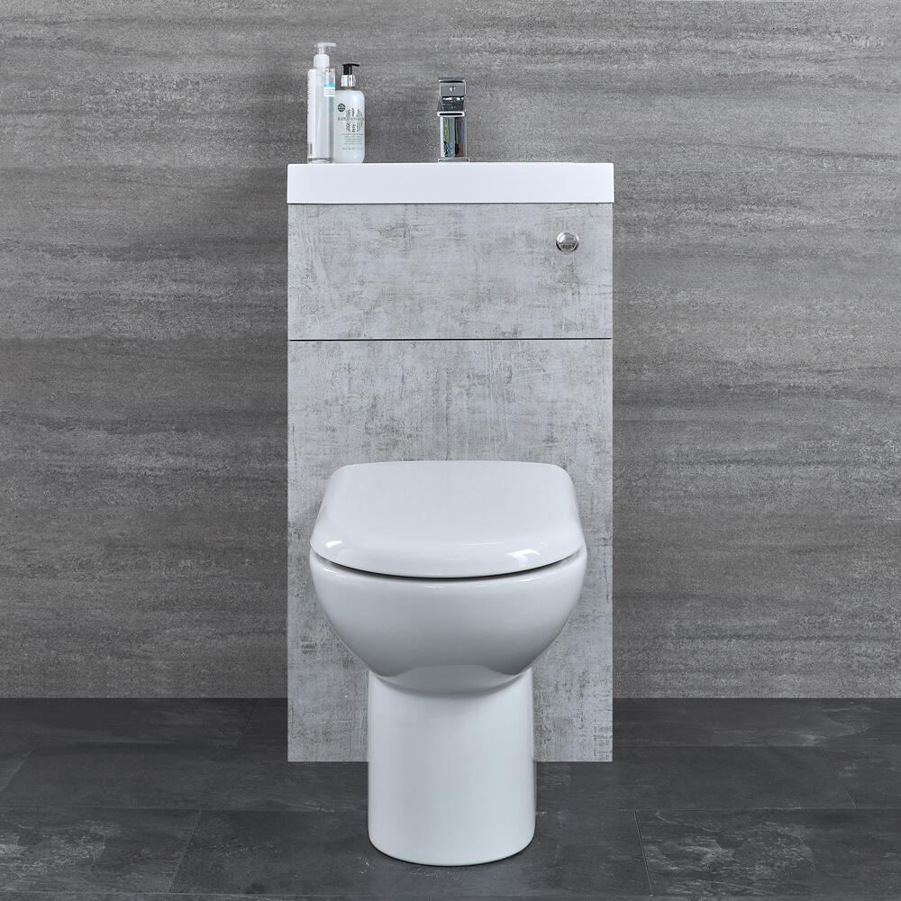 D-förmige Toilette mit Spülkasten und integriertem Waschbecken Betongrau