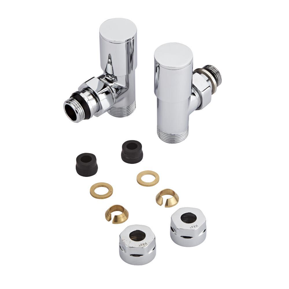 """¾"""" Heizkörperwinkelventil Set nicht-thermostatisch chrom mit 12mm Kupferadaptern"""