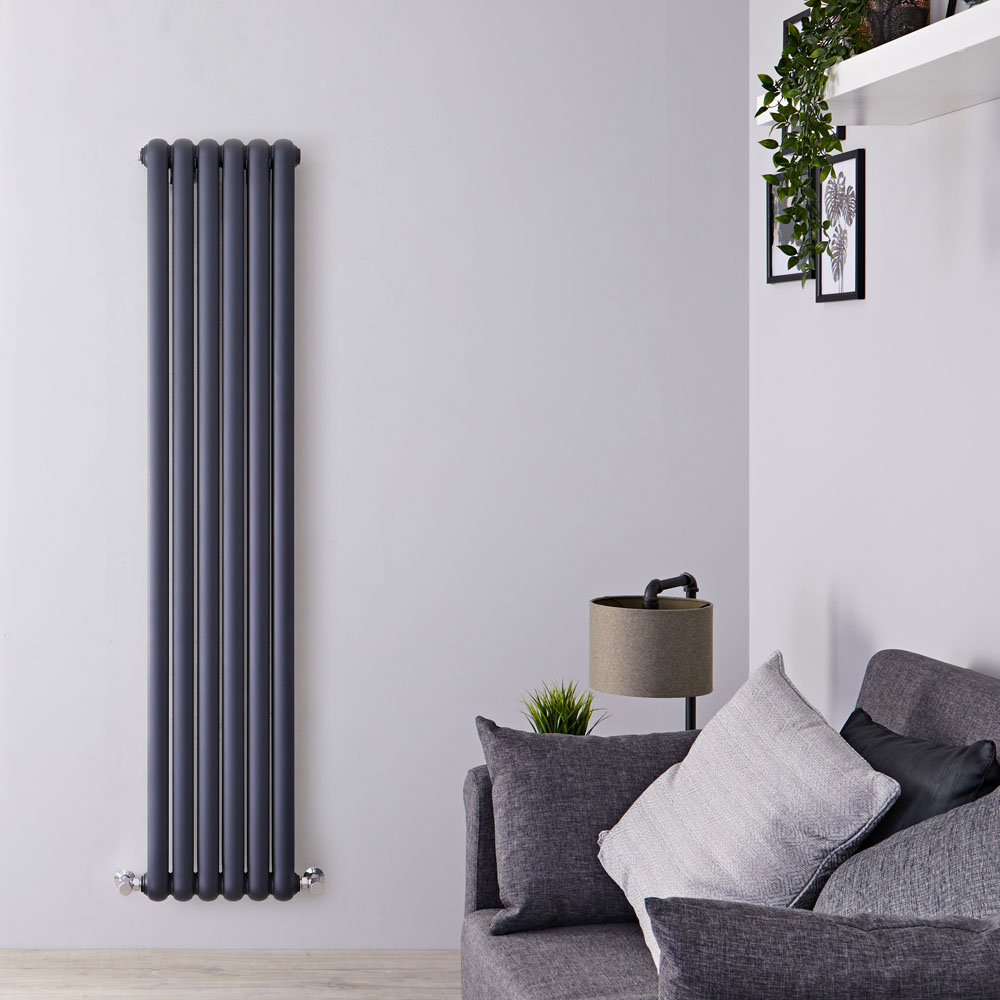 Gliederheizkörper Vertikal 2 Säulen Nostalgie Anthrazit 1500mm x 383mm 1258W - Salvia