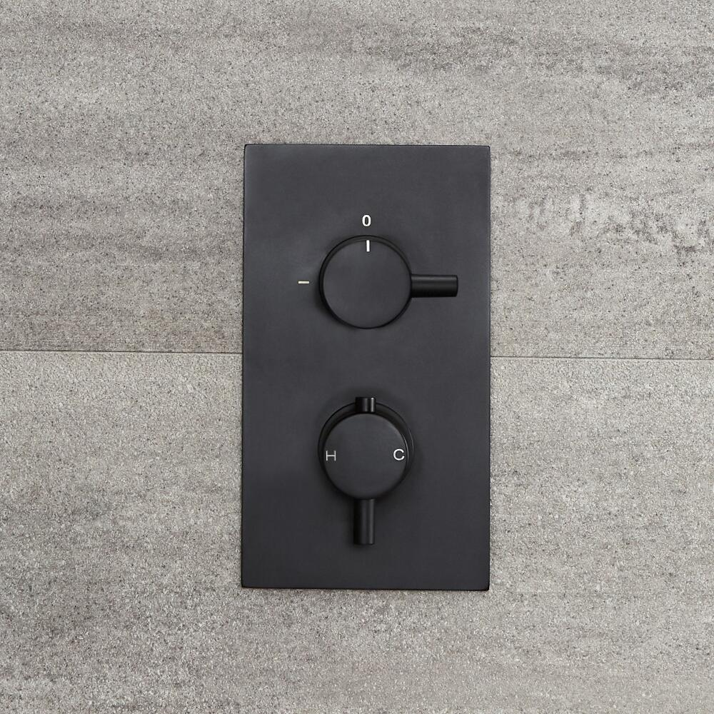 Nox - Schwarzes 2-Wege Thermostat-Duschventil mit Umschalter