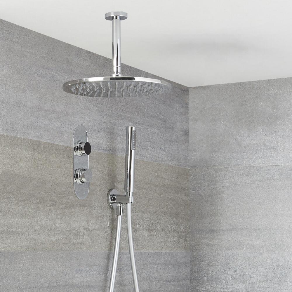 Digitale Dusche für zwei Funktionen, inkl. rundem Duschkopf zur Deckenmontage & Brause - Narus