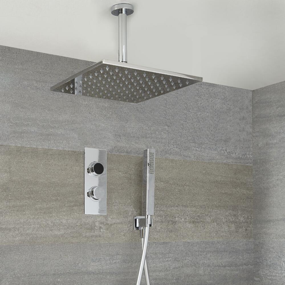 Digitale Dusche für zwei Funktionen, inkl. quadratischem 400mm Duschkopf zur Deckenmontage - Narus