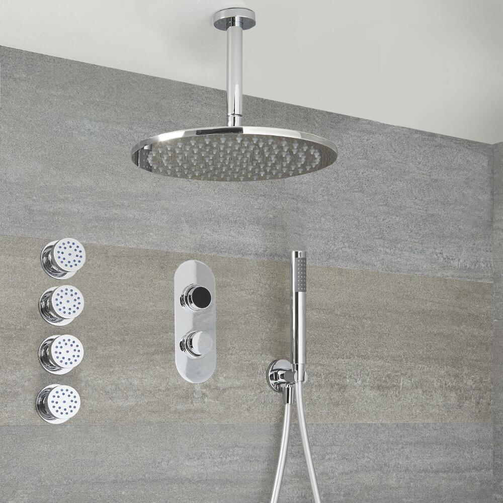 Digitale 3-Wege Dusche inkl. rundem Duschkopf zur Deckenmontage, Körperdüsen & Brause - Narus