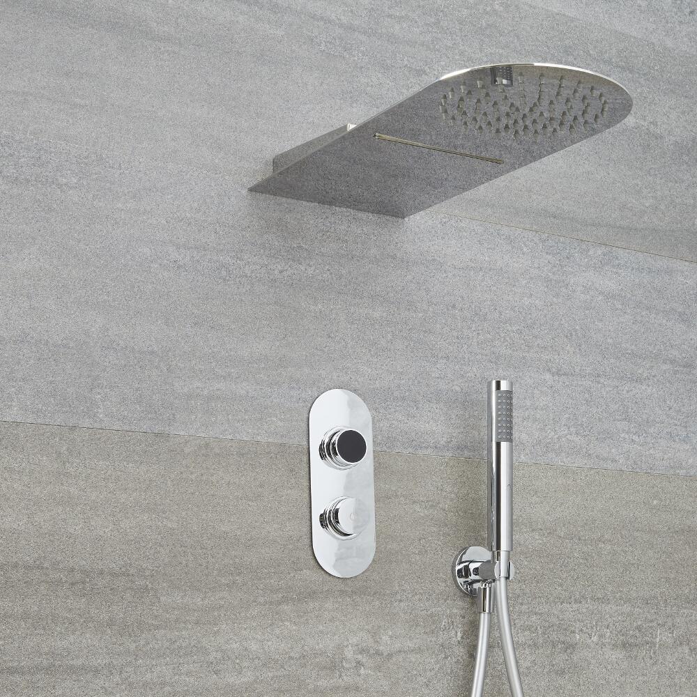 Digitale Dusche für drei Funktionen, inkl. Duschkopf mit Wasserfallausguss und Handbrause - Narus