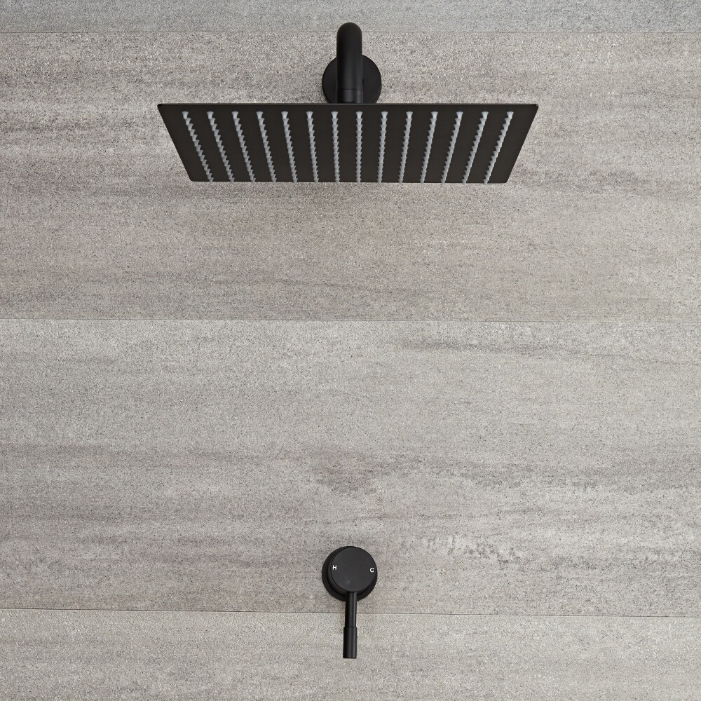 Nox - Schwarzes Unterputz Einhebel-Duschventil mit 300x300mm Duschkopf und Arm