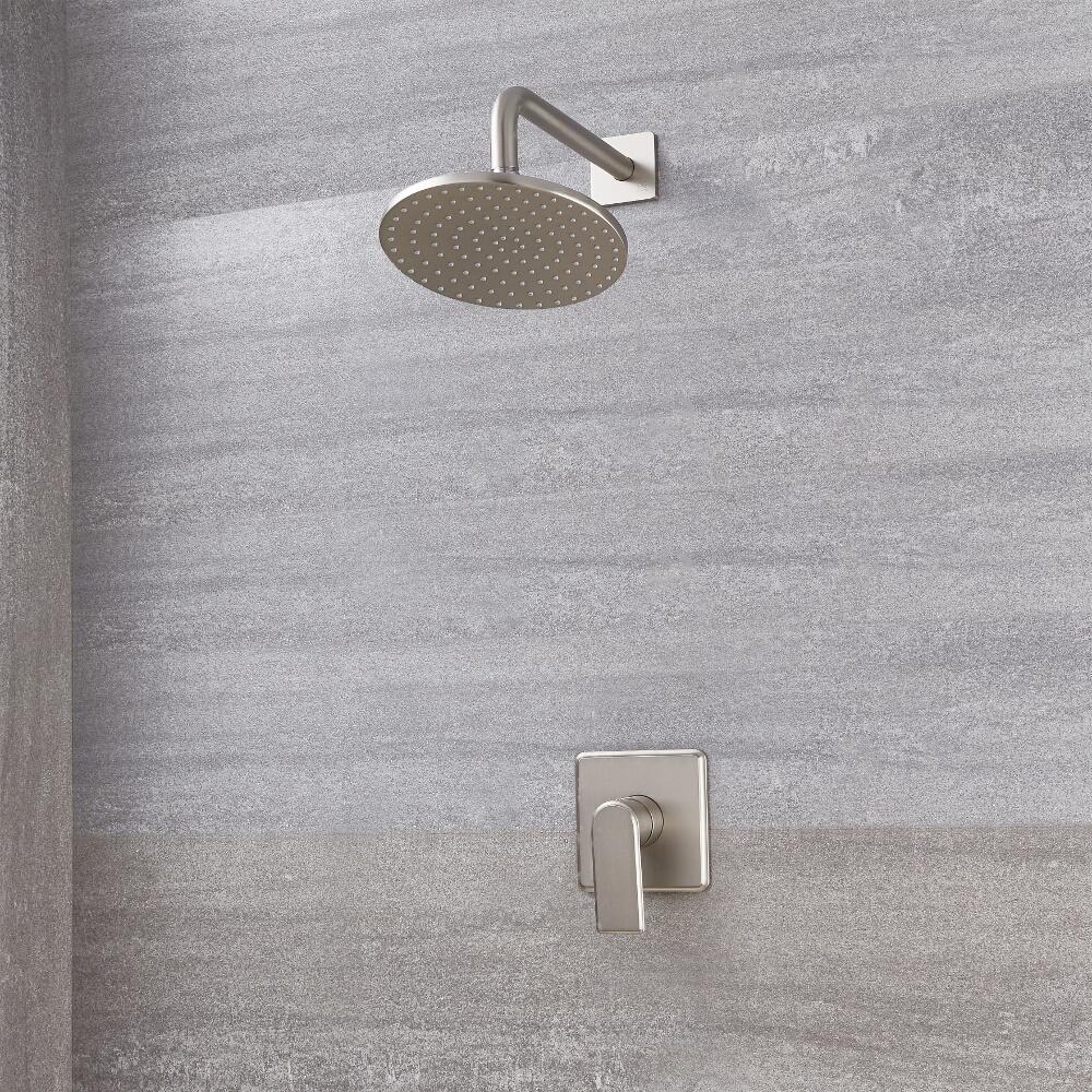 Aldwick Einhebel-Duscharmatur mit 200mm rundem Kopf - Gebürstetes Nickel