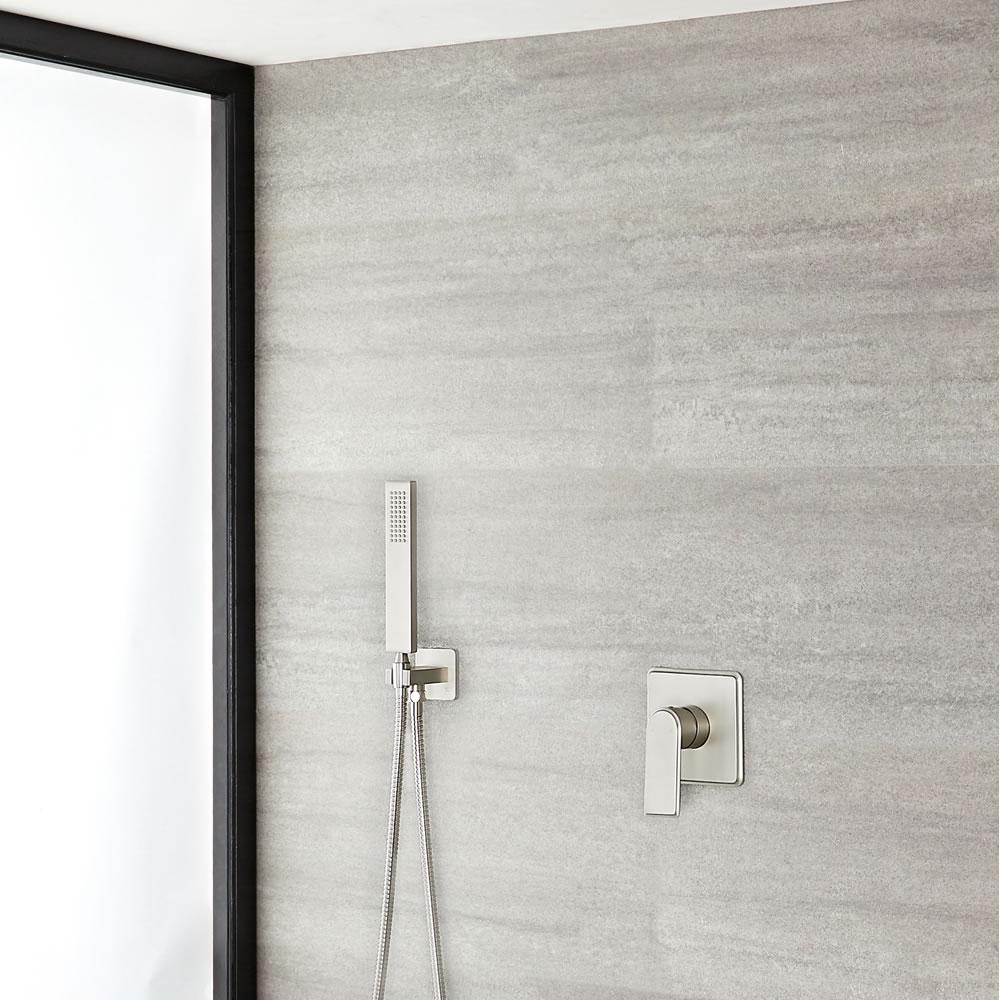 Harting Einhebel-Duscharmatur mit eckiger Handbrause - Gebürstetes Nickel