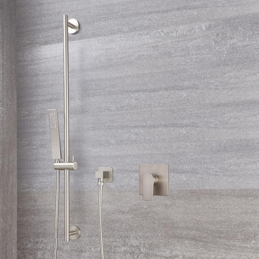 Harting Einhebel-Duscharmatur mit Duschstange und eckiger Handbrause - Gebürstetes Nickel