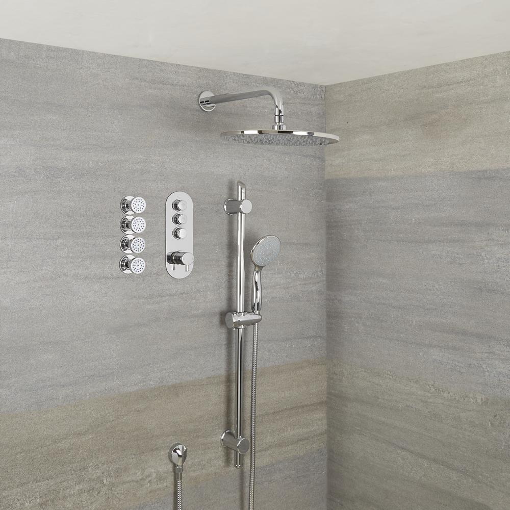 Duscharmatur mit Drucktasten 3 Funktionen, inkl. Duschstange, 300mm Duschkopf und Körperdüsen - Idro