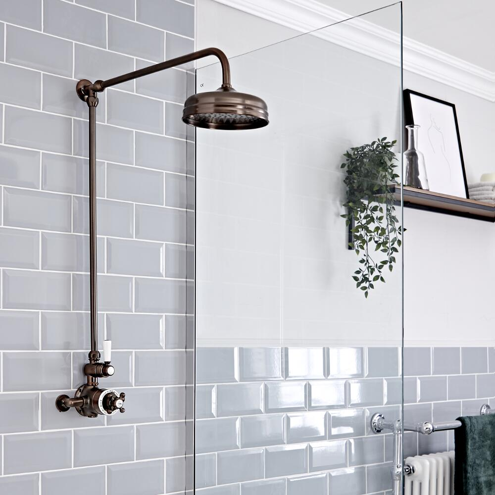 Retro Duschsäule mit Aufputz-Thermostat, geölte Bronze - Elizabeth