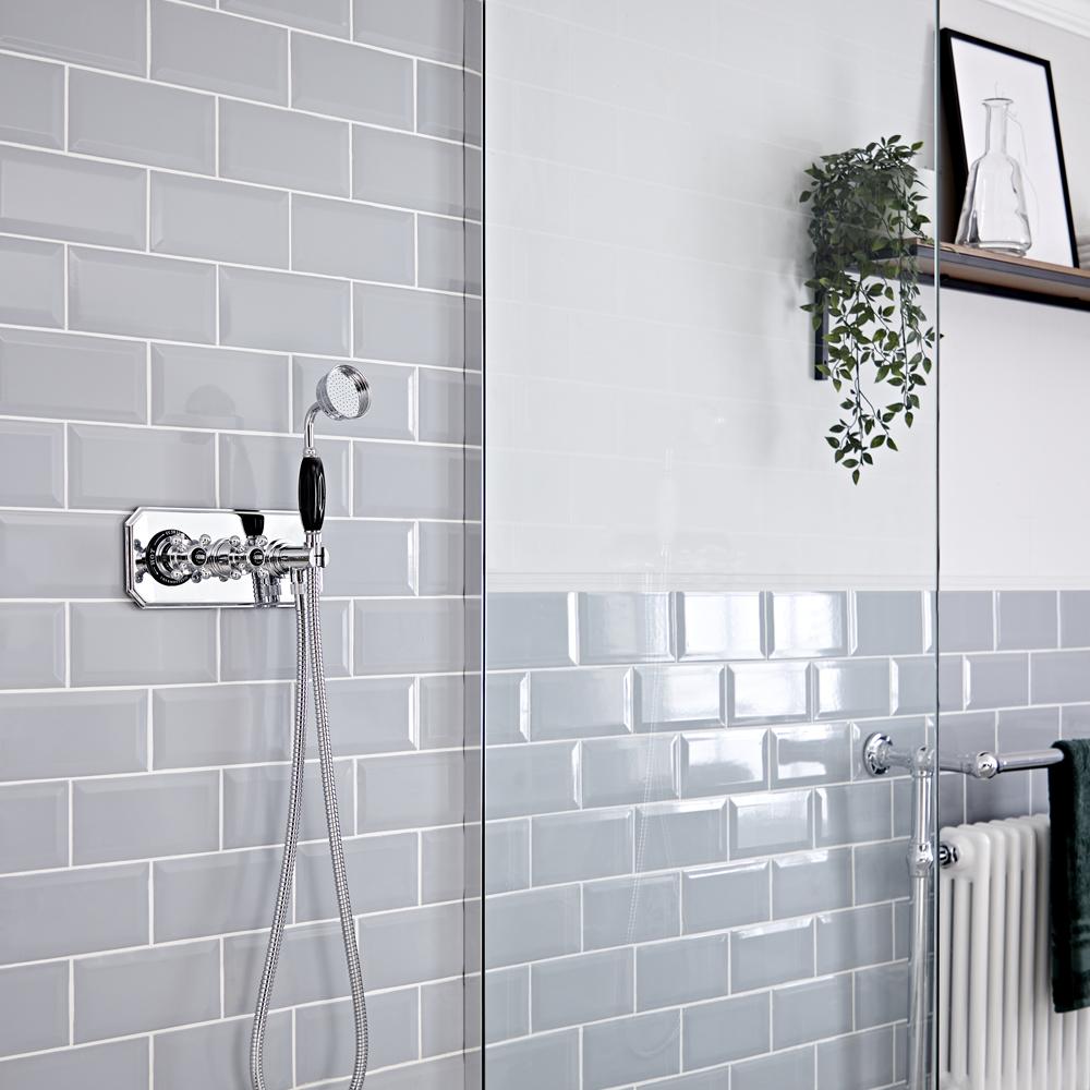 Traditionelles Dusch-Thermostat mit Handbrause, Chrom/Schwarz - Elizabeth
